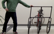 Pushing the bricycle